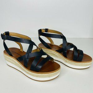Lucky Brand Jasmei Wedge Sandals Black Leather